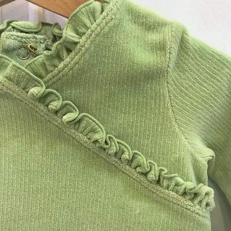 369.【USED】Green Corduroy Frill Tops
