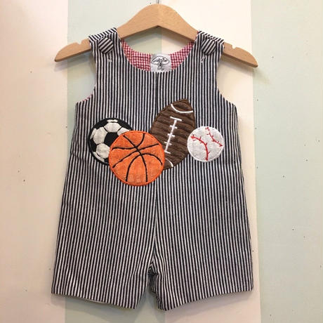 181.【USED】Sports Ball motif Hickory Stripe Short Rompers