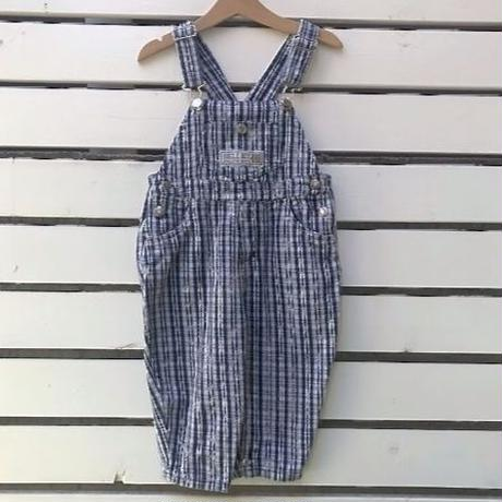 689.【USED】Navy Plaid Overall