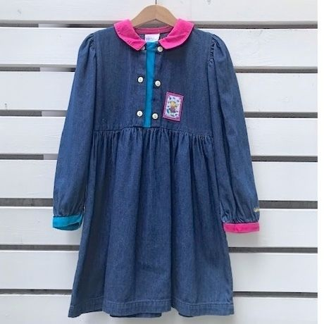 663.【USED】Blue Pink Color Scheme Denim Dress