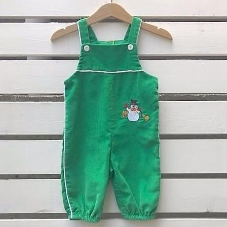 704.【USED】Green SnowMan Rompers(made in U.S.A.)