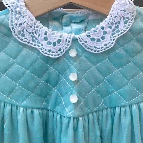429.【USED】Mint green velours Dress