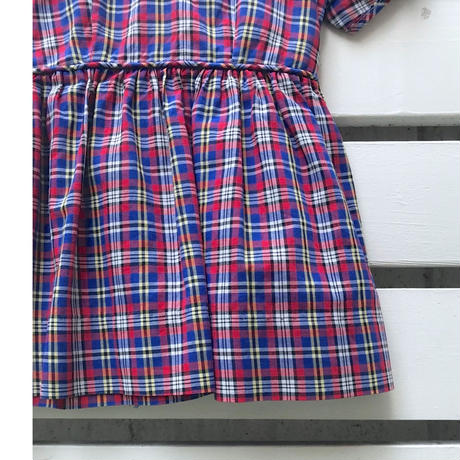 541.【USED】50's Vintage Blue&Red Check Dress