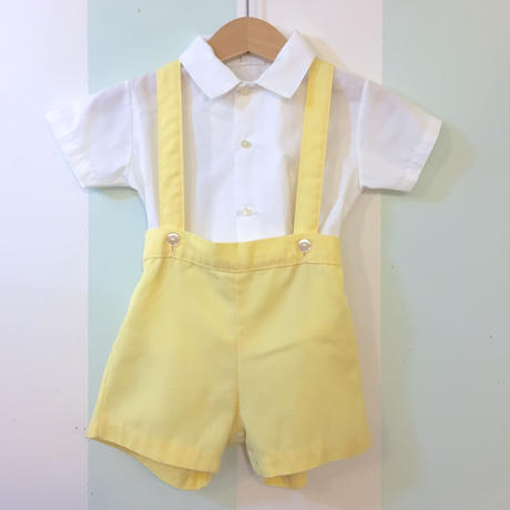 184.【USED】Shirt & yellow pants Set up Rompers