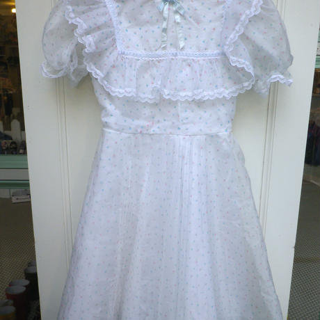 166.【USED】Flower print White frill Dress (Made in U.S.A.)