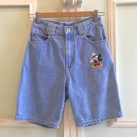 665.【USED】Mickey Mouse Denim Short  pants