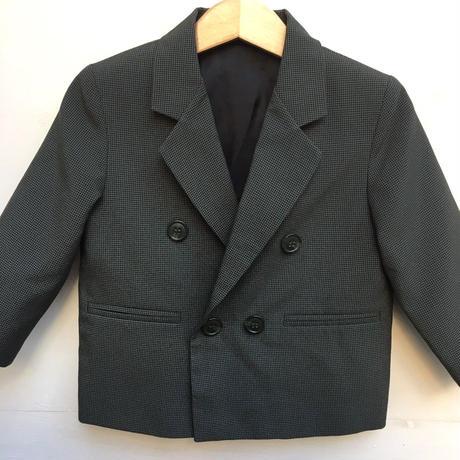 105.【USED】Dark green x Black zigzag pattern double formal jacket