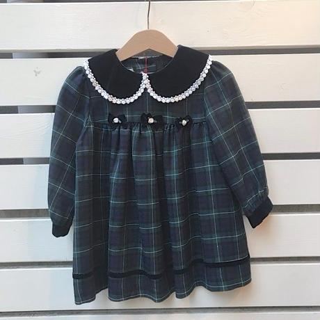 466.【USED】Check Ribbon Dress