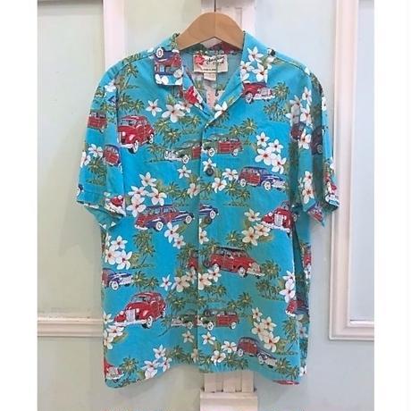 623.【USED】Blue Car  Hawaiian Shirts(made in HAWAII)