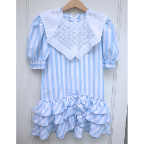 169.【USED】Light Blue And White Stripe Dress