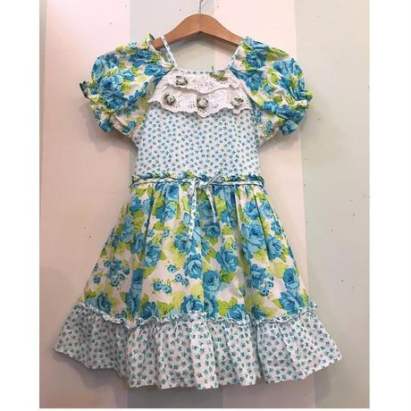 210.【USED】Blue flower print Flare Dress