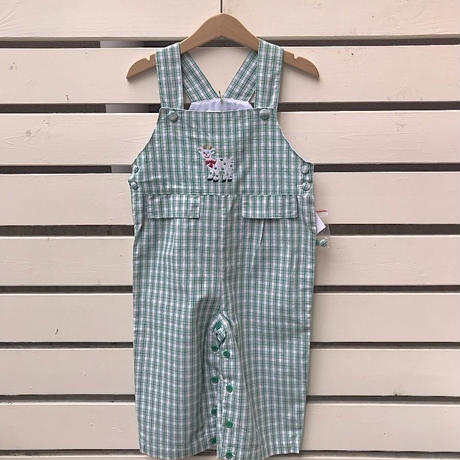 344.【USED】Reindeer check Cotton Overall
