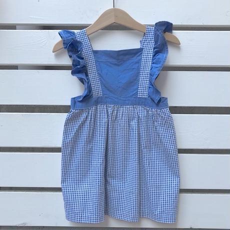 20.【USED】Blue gingham check frill Dress(vintage item)