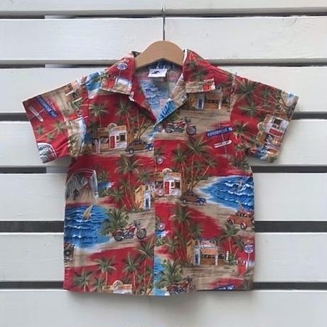 553.【USED】Summer Red  Hawaiian Shirts(made in HAWAII)