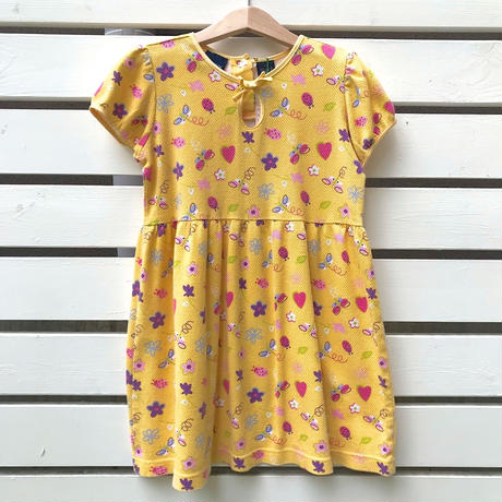 61.【USED】Flower print yellow cotton Dress