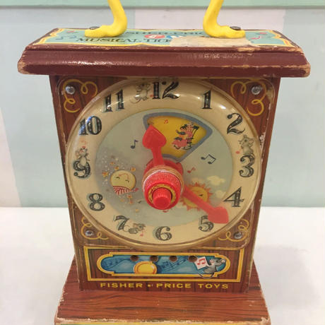 """192.【USED】Vintage """"Fisher-price"""" TickTock Teaching Clock(Made in U.S.A.)"""