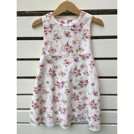 71.【USED】Flower print linen back ribbon Dress
