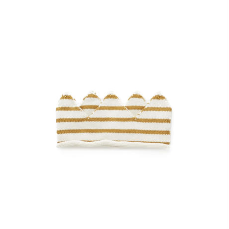 232.【ouef】CROWN / white×ochre stripes