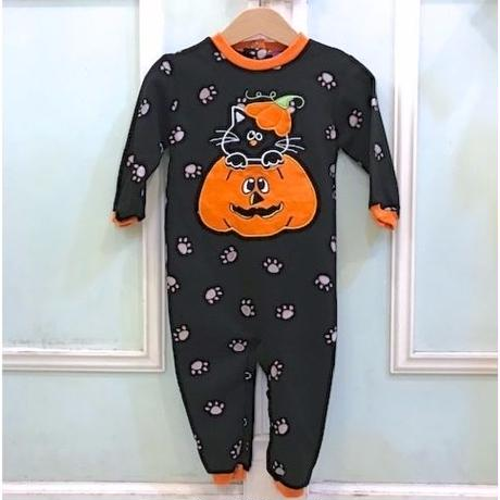 716,【USED】Black cat Pumpkin Rompers