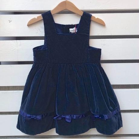 428.【USED】Navy Quilting Ribbon Dress