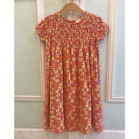 615.【USED】Sun flower print Shirring Dress