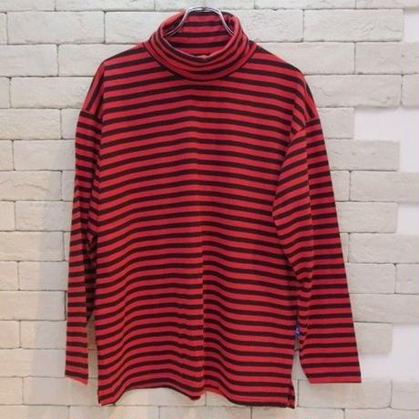 L/S TURTLE NECK BORDER TEE RED/BLK
