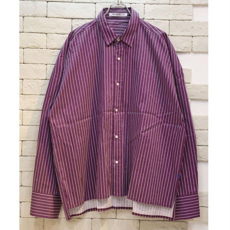 L/S  OVERSIZED STRIPE SHIRTS PURPLE