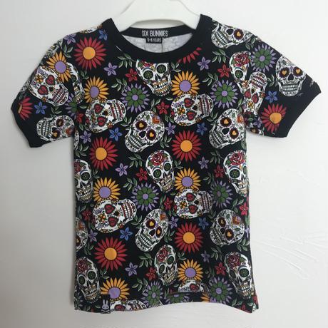 スカルとフラワー柄 Tシャツ キッズ