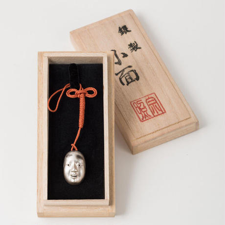 "銀製 能面根付 小面 Silver netsuke modeled on Noh mask ""Ko-omote"""