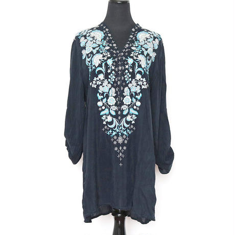 johnnywas mint flower embroidery tunic onepice
