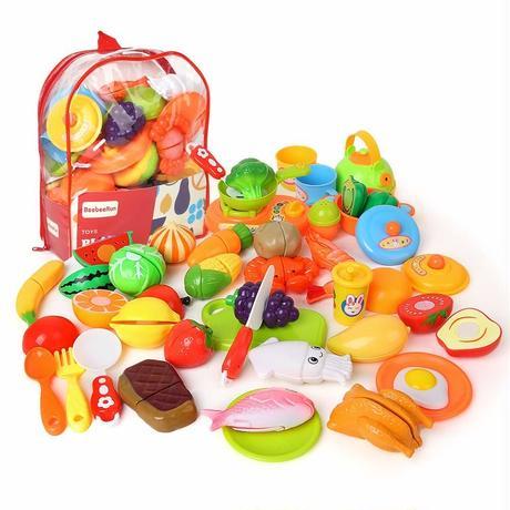 Beebeerun おままごとセット 野菜 果物 キッチン お料理しましょう リアル 切れる 親子遊び おもちゃ 収納バッグ ごっこ遊び 子供 知育玩具 切る遊び オモチャ 児童館用品
