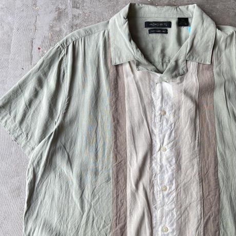 AXIST Bicolor Open Collar Silk Shirts