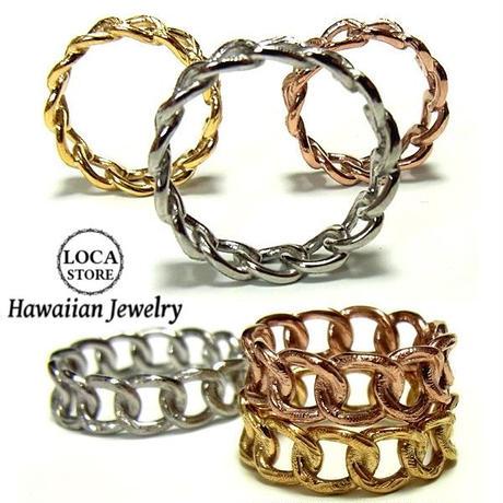 ハワイアンジュエリー リング 指輪 K14イエローゴールドコーティング チェーン サージカルステンレス メンズ レディース ペア インスタ (grs8648)