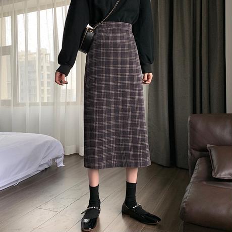 チェック柄 コーデュロイスカート ハイウエスト 韓国ファッション レディース ロングスカート タイトスカート 大人可愛い ガーリー DTC-628449073016