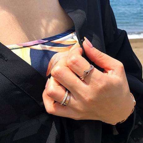 ※数量限定 ハワイアンジュエリー リング 指輪 Vライン 金属アレルギー対応 メンズ レディース スクロール 波 サージカルステンレス シルバー ゴールド ピンクゴールド インスタ ropr08