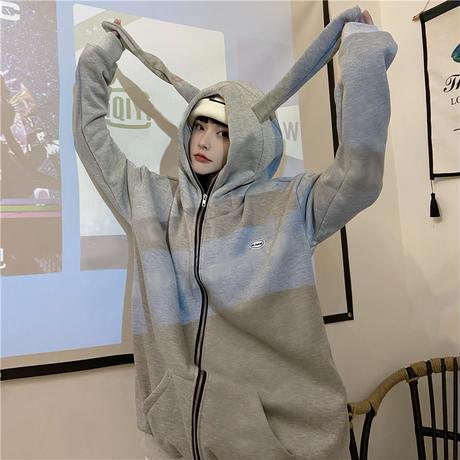 パーカー プルオーバー プラスベルベット ウサギ耳 フードジップ ルーズ 韓国ファッション レディース ゆったり 大きめ カジュアル ストリート系 DTC-632251286193