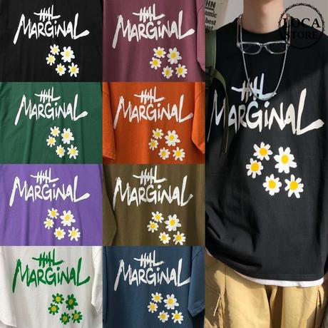 Tシャツ 半袖 メンズ レディース ユニセックス 英字 花 フラワープリント オーバーサイズ 大きいサイズ ルーズ ストリート TBN-614814663557