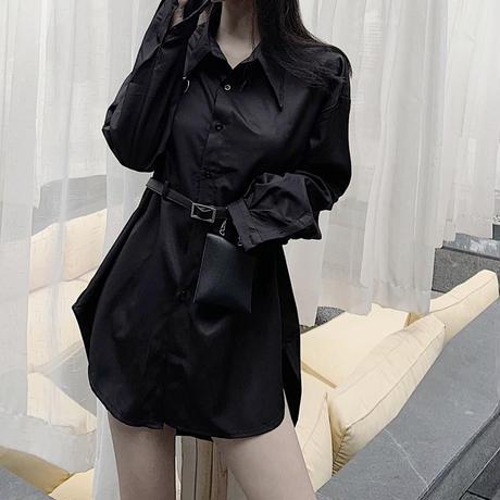 シャツ ブラウス ベルト付き ミニバッグ付き 長袖 韓国ファッション レディース 黒 ブラック ポシェット チュニック DTC-599438619399