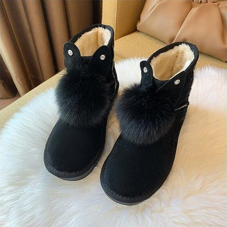 ウサギの耳付き ムートンブーツ 22.5~25.0cm 韓国ファッション レディース ファーブーツ 防寒 もこもこ 履きやすい カジュアル 631262892415