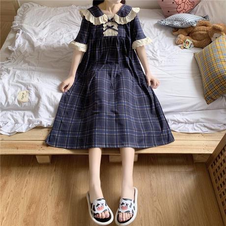 ルームウェア パジャマ チェック柄 ワンピース フリル キャンディースリーブ 部屋着 韓国ファッション レディース ガーリー フェミニン DTC-639918013905_b