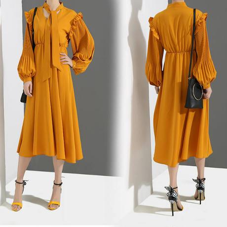 レディース ランタンスリーブ ハイウエストワンピースドレス フレアスカート 韓国ファッション (DCT-584663313843)