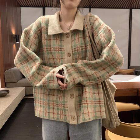 【アウター】 カーディガン チェック柄 保温 ベージュ パープル 長袖 韓国ファッション レディース POLO襟 シングルブレスト ゆったり レトロ かわいい ガーリー 609389060839