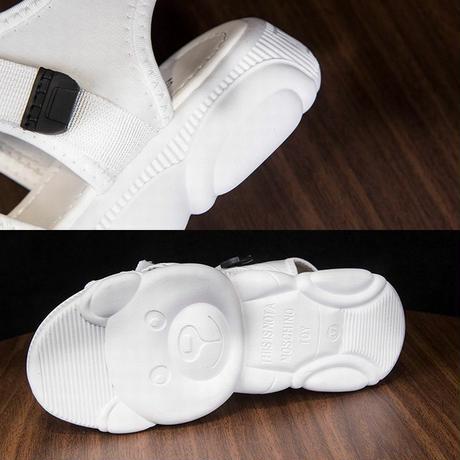 スポーツサンダル フラット クマちゃんソール スポサン 4cm ベルト マジックテープ 韓国ファッション レディース サンダル フラットサンダル かわいい 歩きやすい 594739745115