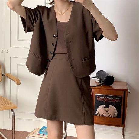 セットアップ ショートジャケット スカート 半袖 ハイウエスト 上下セット ジャケット 大人可愛い ガーリー DTC-648496258289
