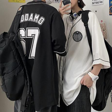 ユニセックス ベースボールシャツ シャツ 半袖 オーバーサイズ メンズ レディース 男女兼用 ゆったり 大きめ ルーズ カジュアル ストリートファッション DTC-639028945520