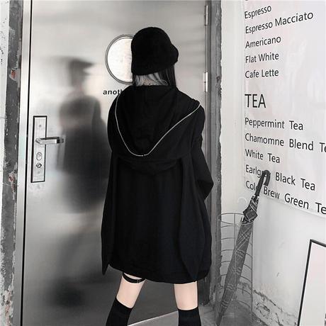 うさ耳 パーカー フルジップアップ チェーンアクセサリー ノーマルor起毛タイプ オーバーサイズ 韓国ファッション レディース カジュアル ストリートファッション DTC-652880507756