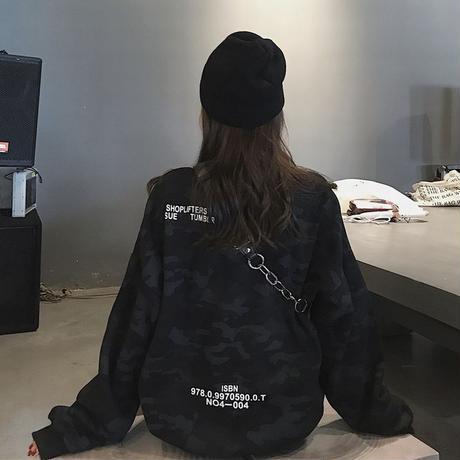 ユニセックス トレーナー カモフラージュ柄 迷彩 プラスベルベット 長袖 オーバーサイズ スウェット 韓国ファッション カジュアル ストリート系 DTC-629139632932