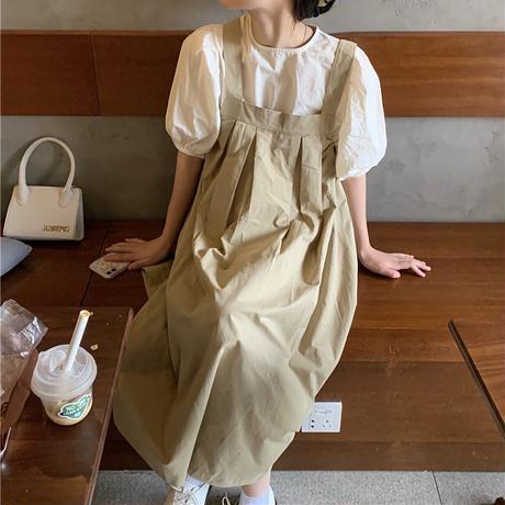 ジャンパースカート ストラップスカート ワンピース タック ルーズ 薄手 ハイウエスト 韓国ファッション レディース ジャンスカ ノースリーブ 大人可愛い ガーリー DTC-643179334355