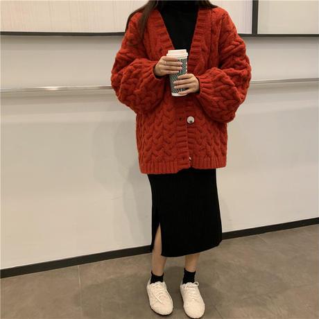 ニット カーディガン ケーブル編み ボリューム袖 保温 韓国ファッション レディース Vネック ランタンスリーブ ルーズ ゆったり 厚い 大人可愛い ガーリー DTC-629008800608