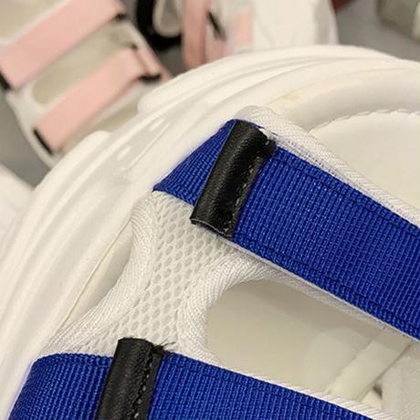 スポーツサンダル 厚底 スポサン 6.5cm ベルト マジックテープ 韓国ファッション サンダル ローマン フラットサンダル 厚底サンダル フラット かわいい 616975947623
